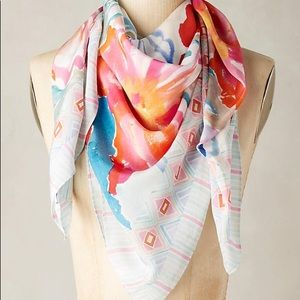 Anthropologie Vibrant Watercolor Floral Silk Scarf